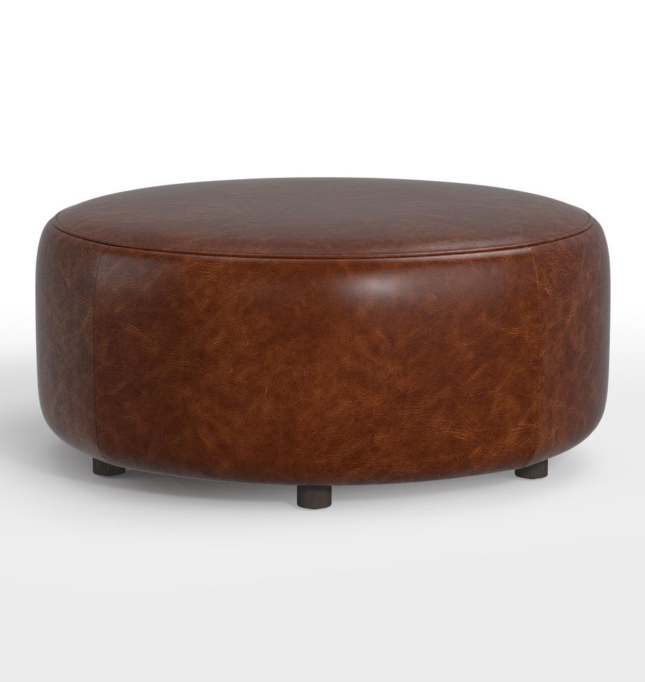 36 worley round leather ottoman