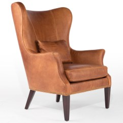 Wood And Leather Chair Pottery Barn Slipcover Clinton Modern Wingback With Nailheads Rejuvenation Product Description