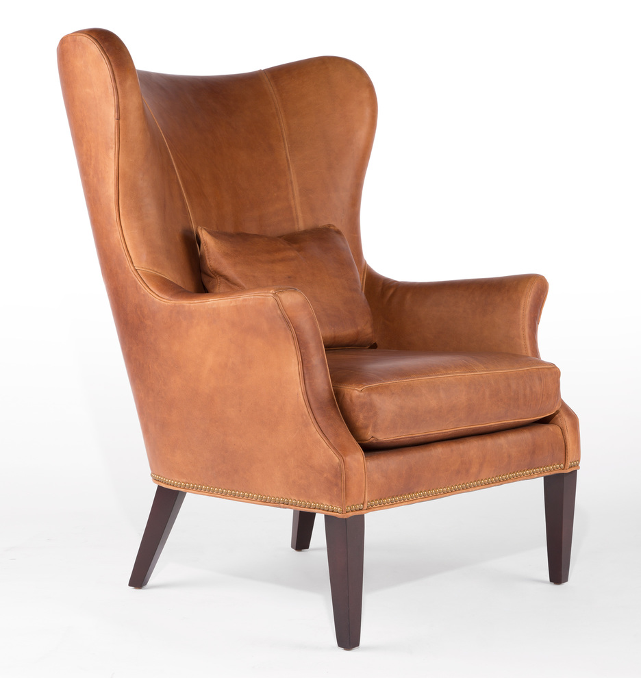 Brown Leather Wingback Chair Clinton Modern Wingback Leather Chair With Nailheads