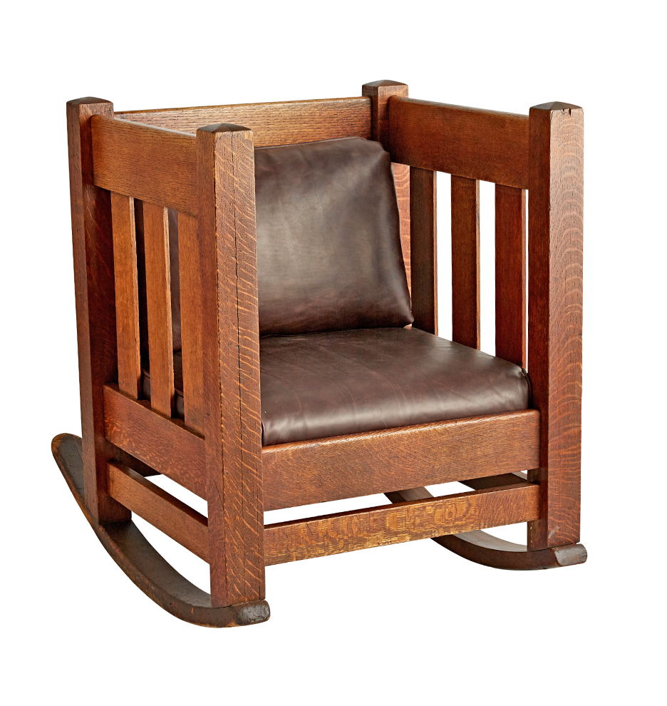 Rocking Chairs Arts Crafts Oak Cube Rocking Chair W Leather Upholstery