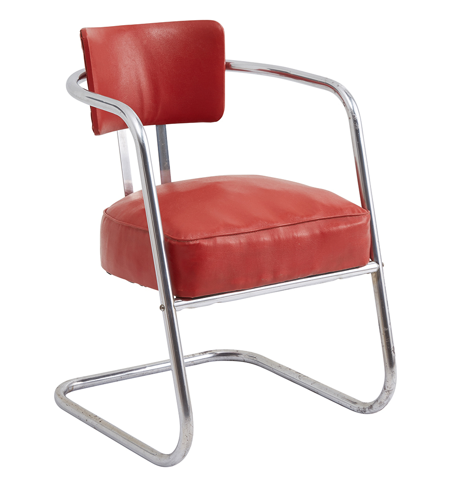 red lounge chair pc gaming chairs for adults chrome w original vinyl upholstery rejuvenation generating a preview image of your customized product