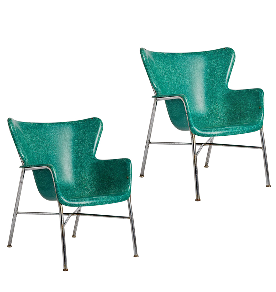 Teal Wingback Chair Pair Of Incredible Wingback Fiberglass Chairs By Selig