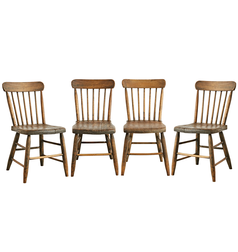 Set Of 4 Kitchen Chairs Set Of 4 Rustic Pine Spindle Back Kitchen Chairs