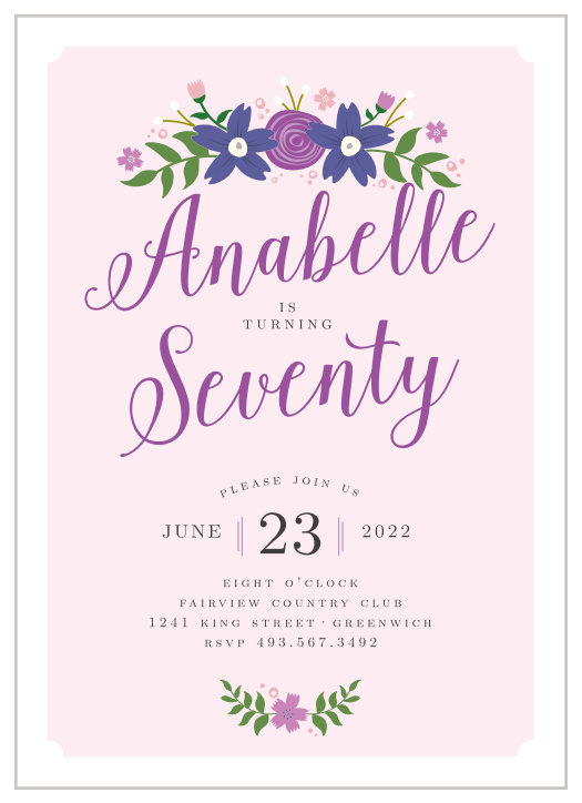 70th birthday invitations design