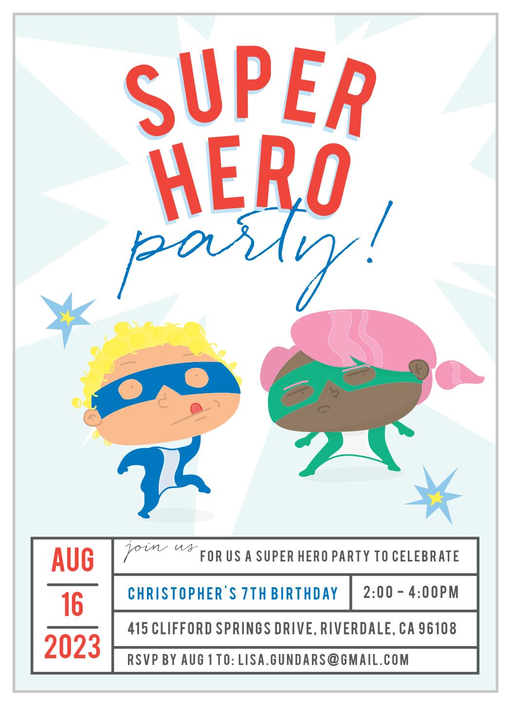 super hero children s birthday invitations