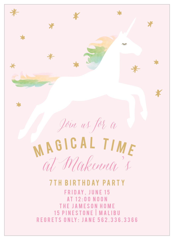 rainbow pony foil children s birthday invitations