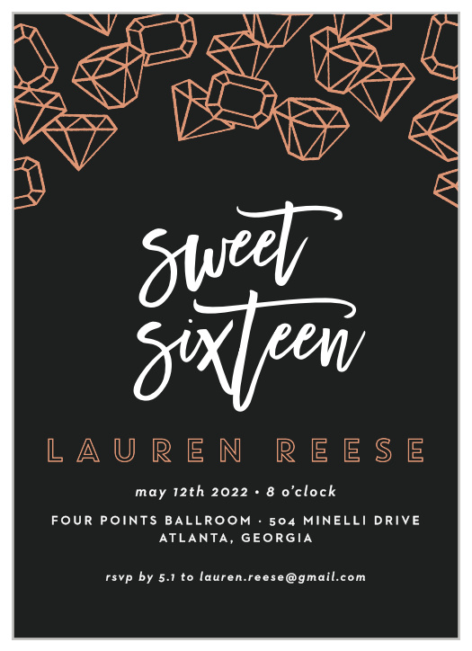 sweet 16 invitations match your color