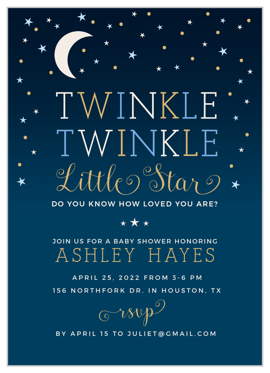 Twinkle Twinkle Little Star Baby Shower Invitation Wording : twinkle, little, shower, invitation, wording, Twinkle, Little, Shower, Invitations, Basic, Invite