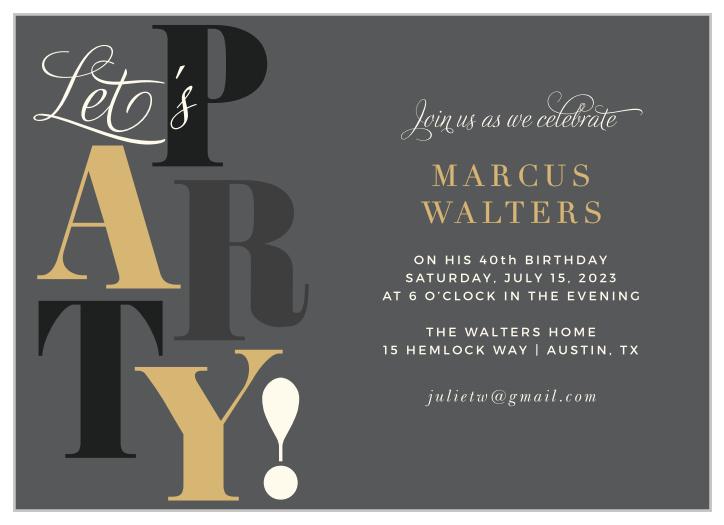 adult birthday invitations match your