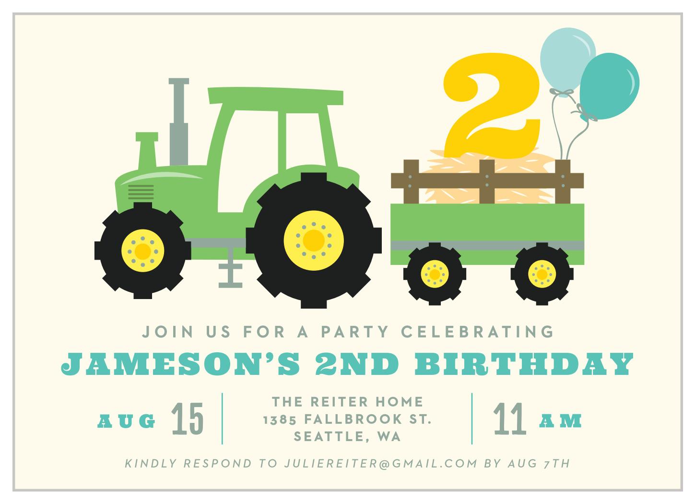 tractor party children s birthday invitations