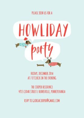 Dashing Dachshund Christmas Party Invitations