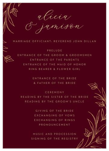 wedding programs match your
