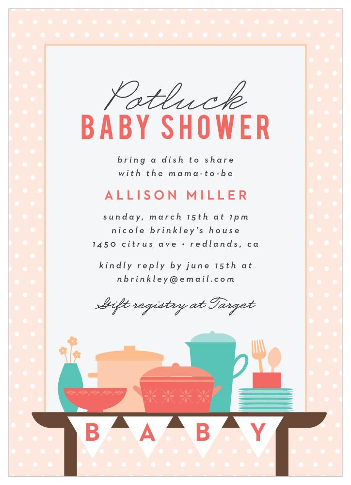 Baby Shower Potluck : shower, potluck, Potluck, Table, Shower, Invitations, Basic, Invite