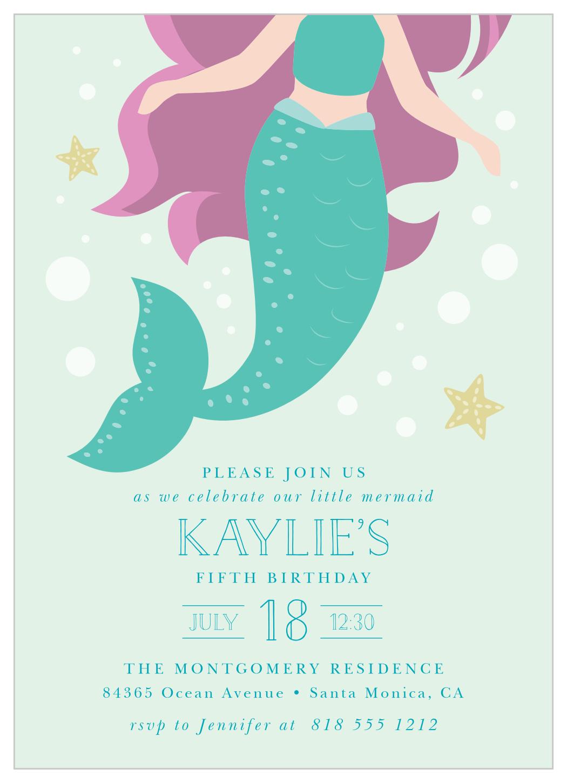 mermaid tail children s birthday invitations