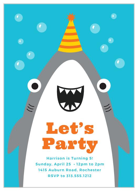 shark children s birthday invitations