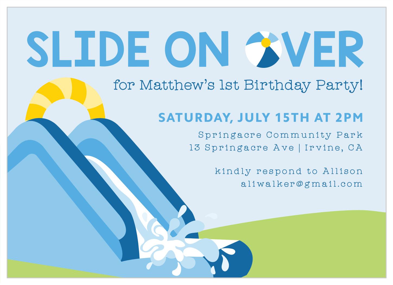 water slide fun first birthday invitations