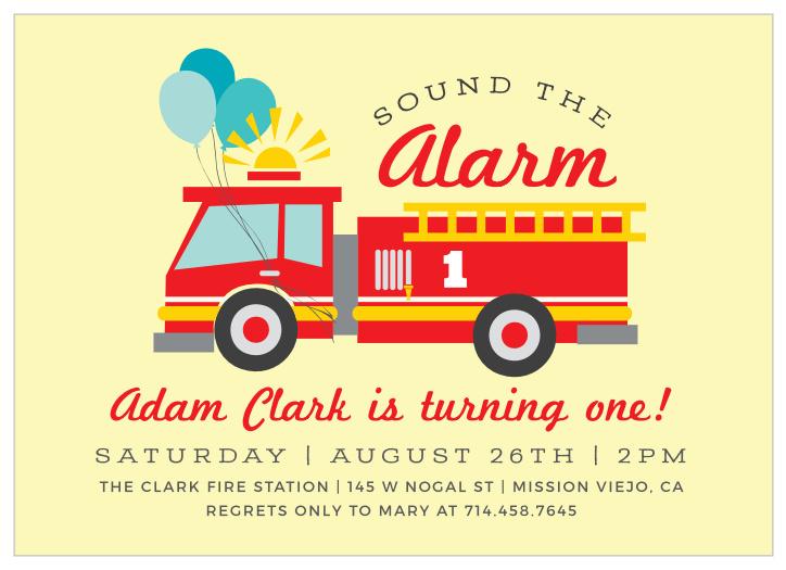 fire truck birthday invitations match