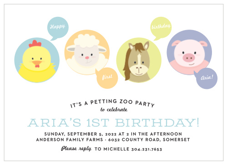 farm frenzy first birthday invitations