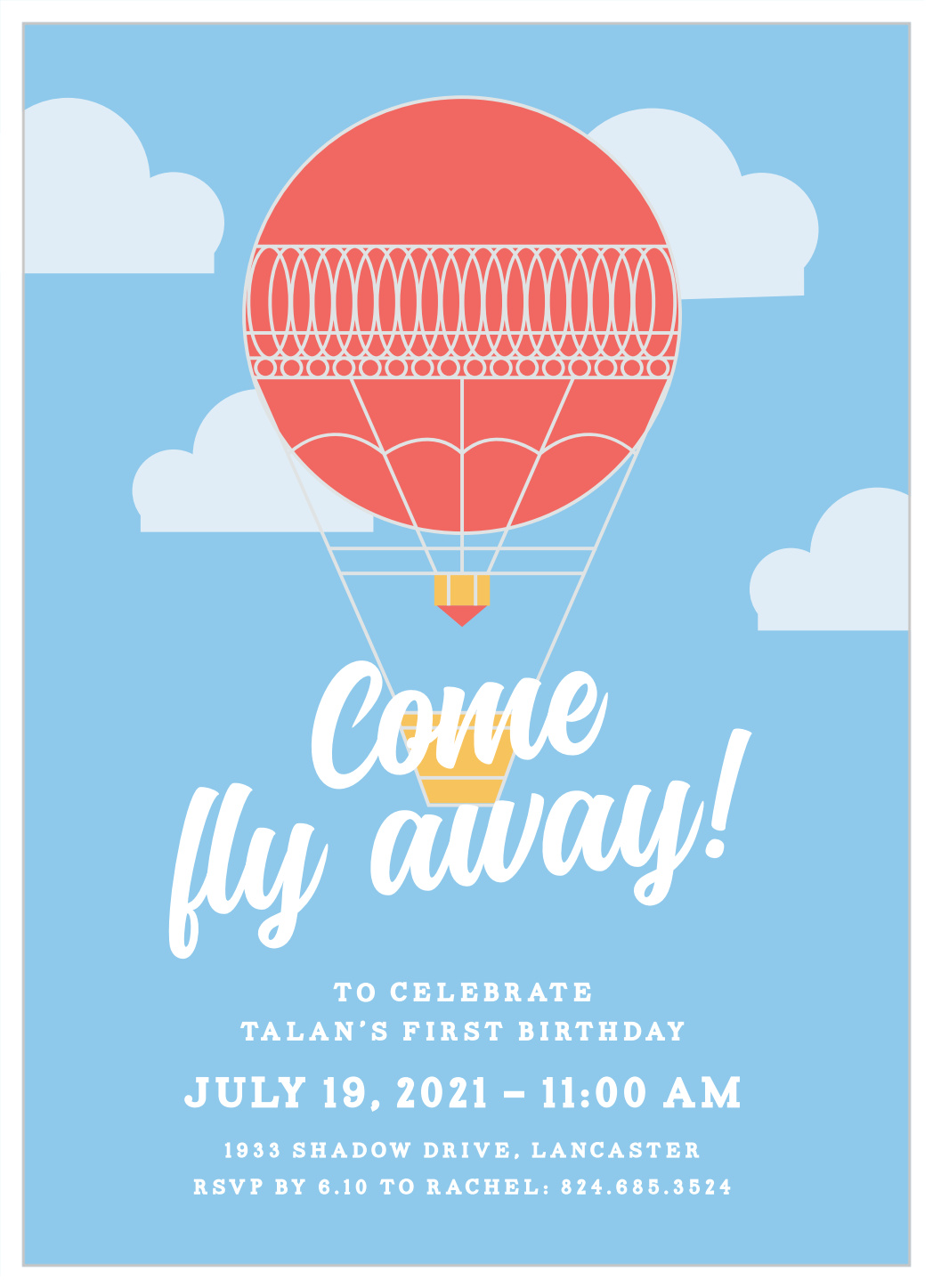 come fly away first birthday invitations