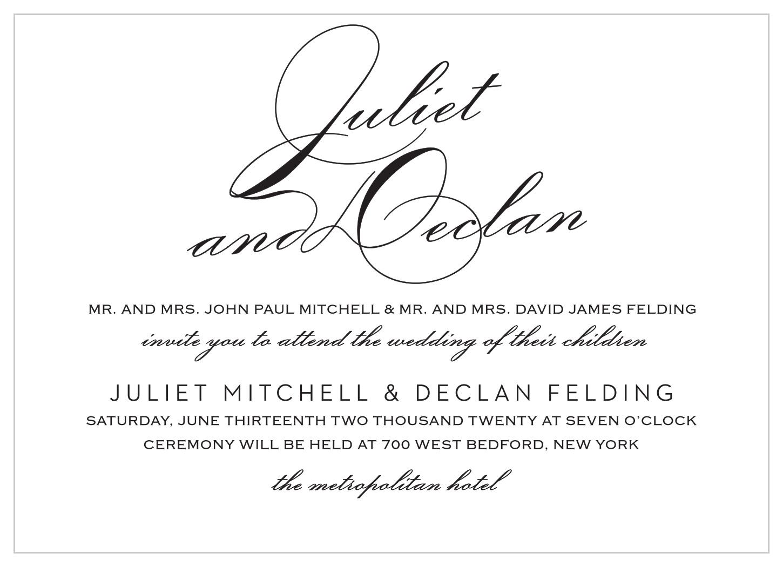 classic script foil landscape wedding