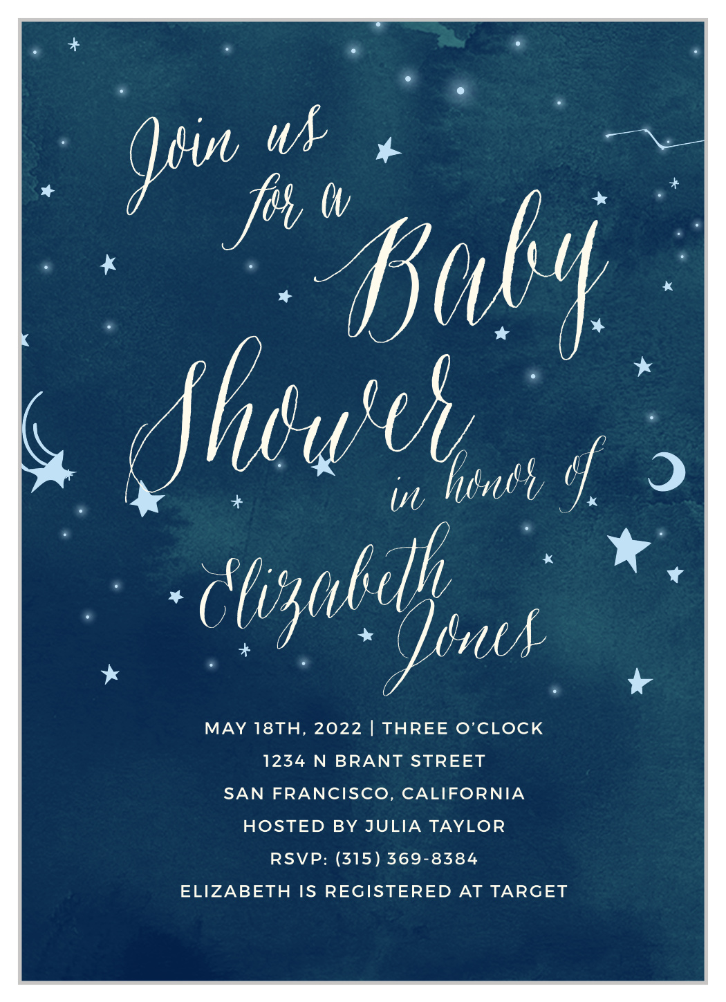 Twinkle Twinkle Little Star Baby Shower Invitation Wording : twinkle, little, shower, invitation, wording, Twinkle, Shower, Invitations, Basic, Invite