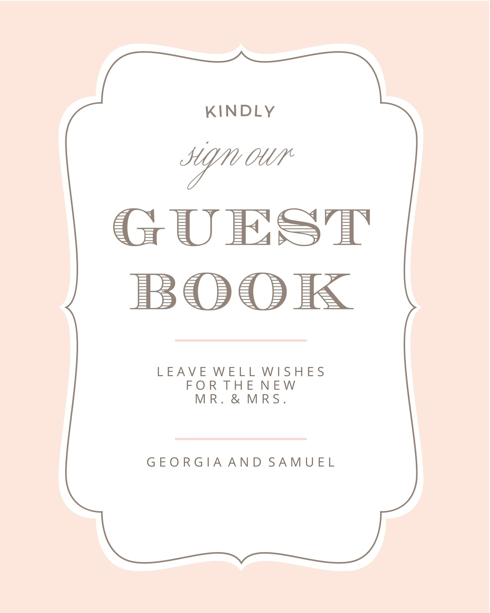 Vintage Frame Guest Book Sign Printables By Basic Invite