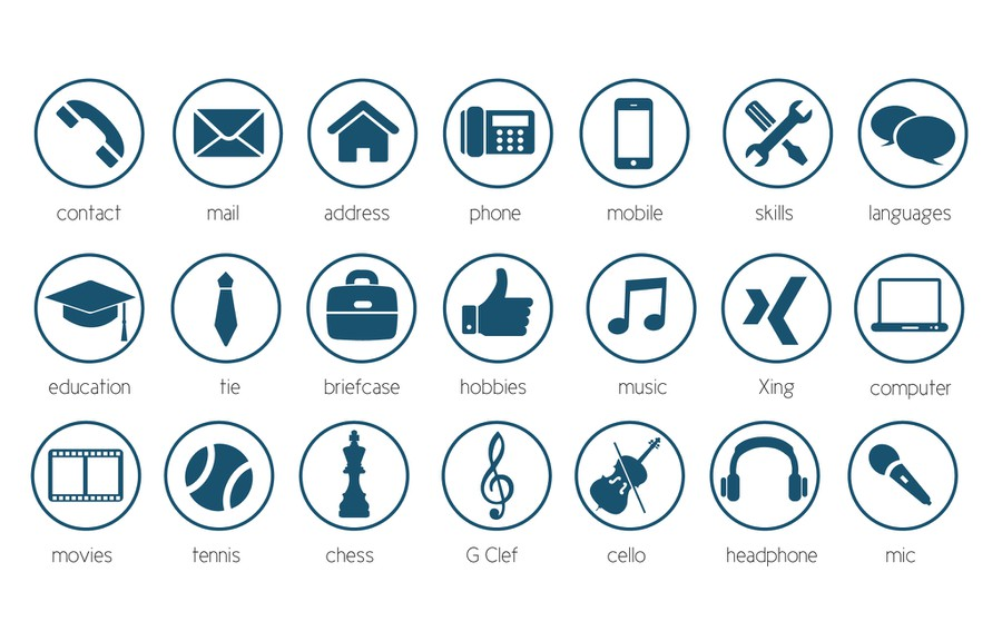 20 modern Icons for personal CV  Resume  Concours Icne ou bouton