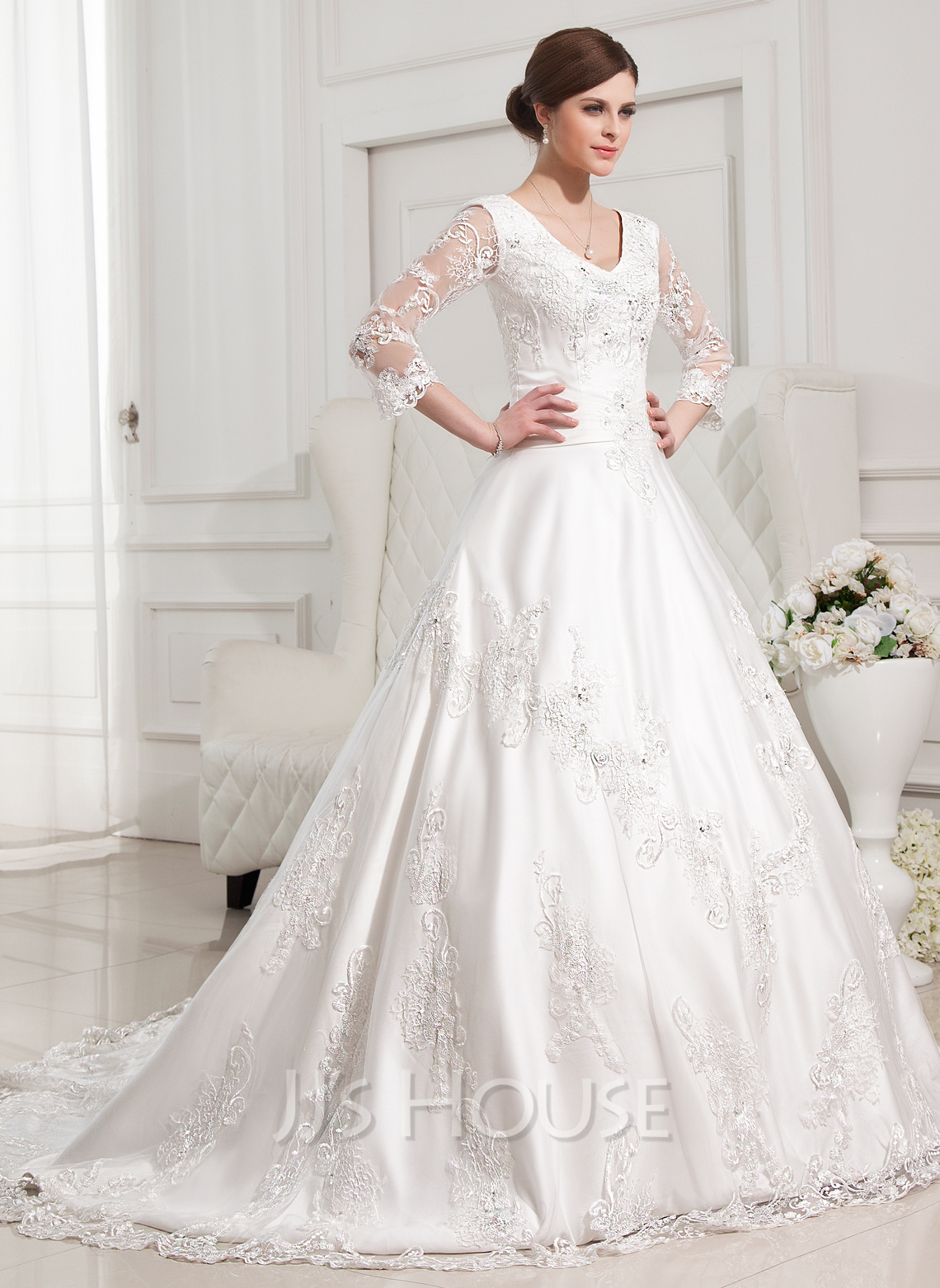 BallGown Vneck Chapel Train Satin Wedding Dress With Beading Appliques Lace 002012846  JJsHouse