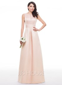 A-Line/Princess V-neck Floor-Length Satin Bridesmaid Dress ...