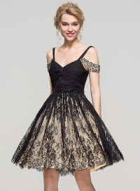 A-Line/Princess Off-the-Shoulder Knee-Length Lace ...