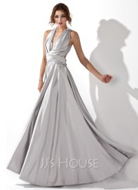 A-Line/Princess V-neck Floor-Length Charmeuse Prom Dress ...