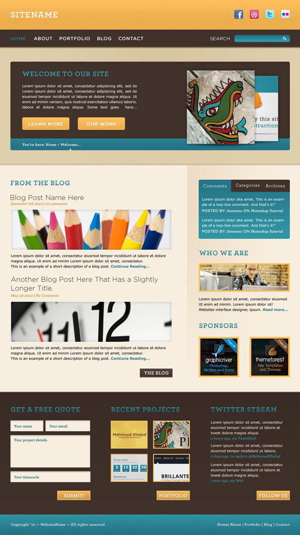 Warm and cheerful website interface