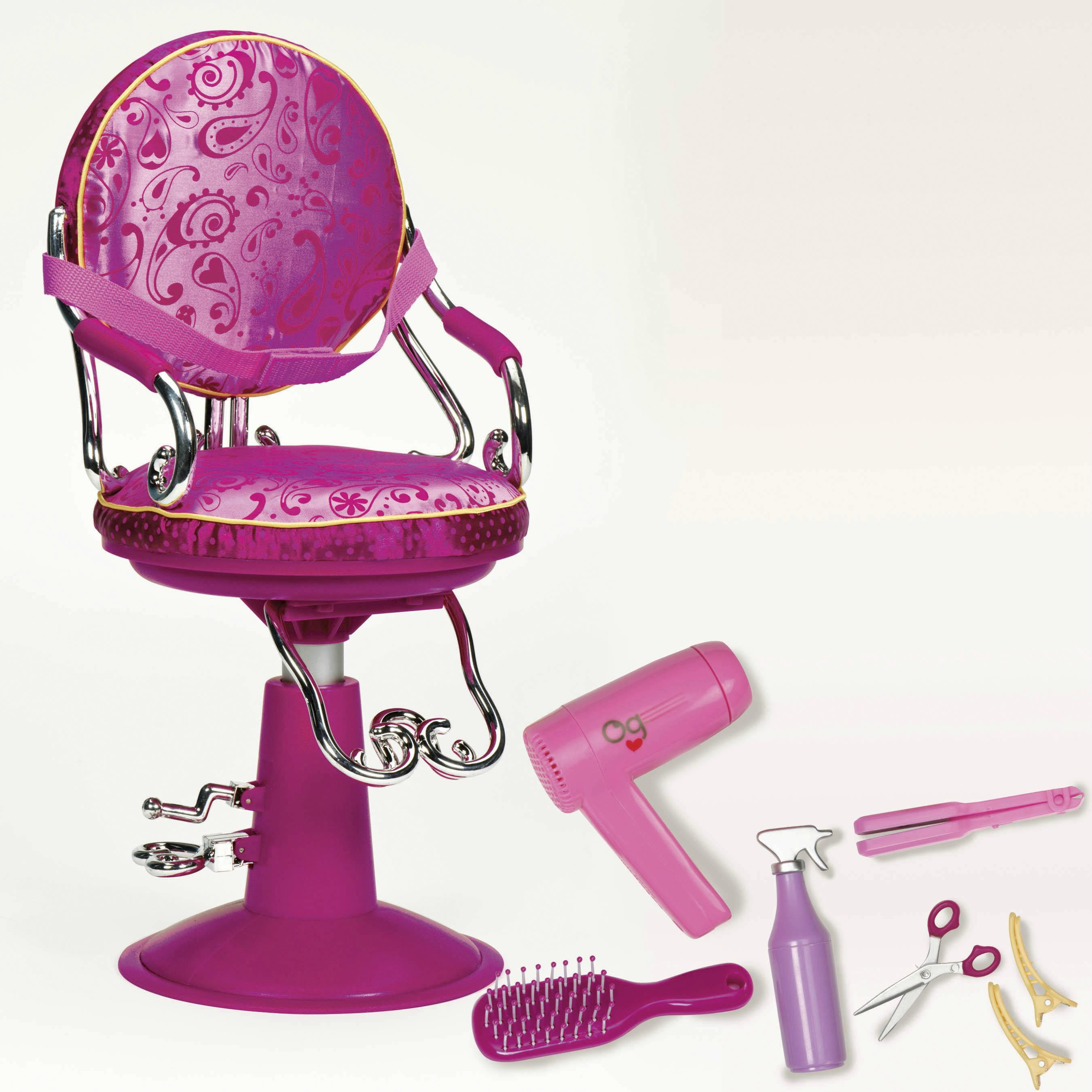doll salon chair outdoor furniture table and chairs sitting pretty set our generation dolls