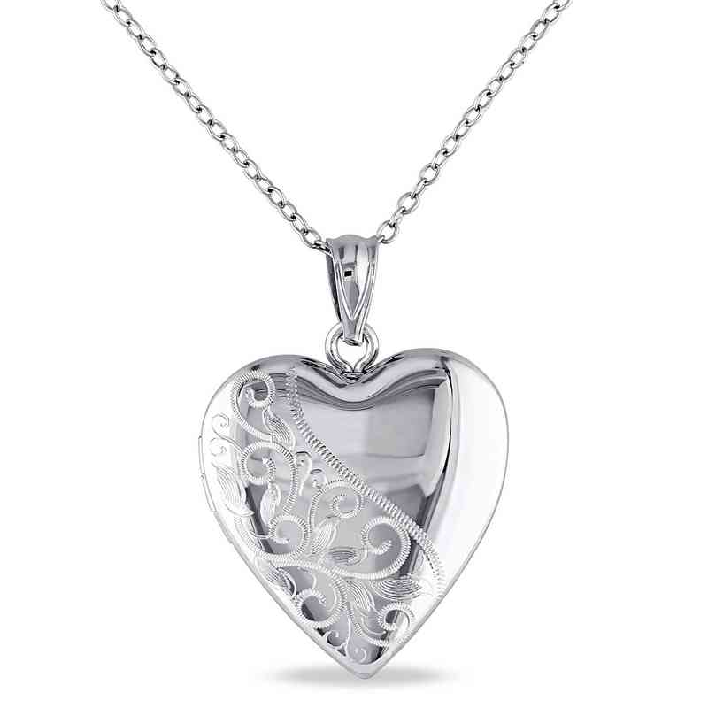 engraved heart locket necklace