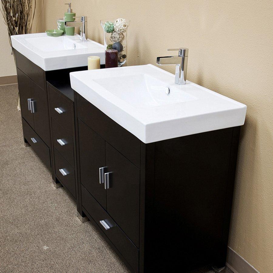 Bellaterra 80 Double Sink Bathroom Vanity Black White Top 203107 D J Keats