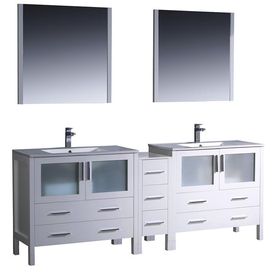Fresca Torino 84 White Modern Bathroom Vanity W Side Cabinet Integrated Sinks Fvn62 361236wh Uns J Keats