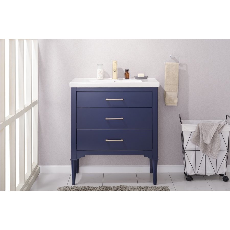 Design Element 30 Inch Mason Single Sink Bathroom Vanity Blue S01 30 Blu J Keats
