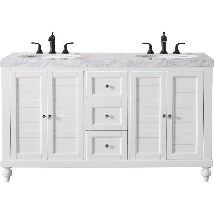 Stufurhome Kent 60 Inch Double Sink Bathroom Vanity With Faucets In Matte Black White Ty 618 60 288mb J Keats