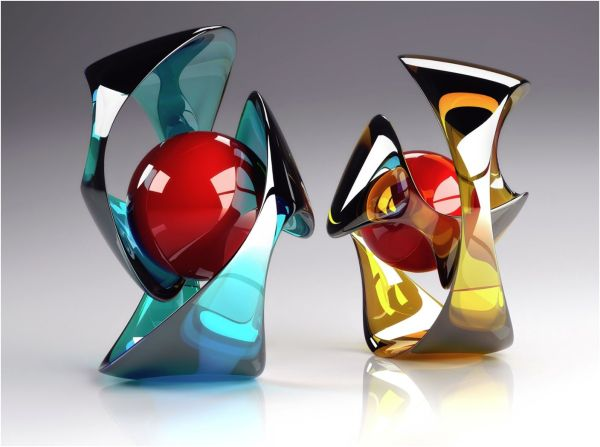 Modern Art Glass Sculpture - Faxo