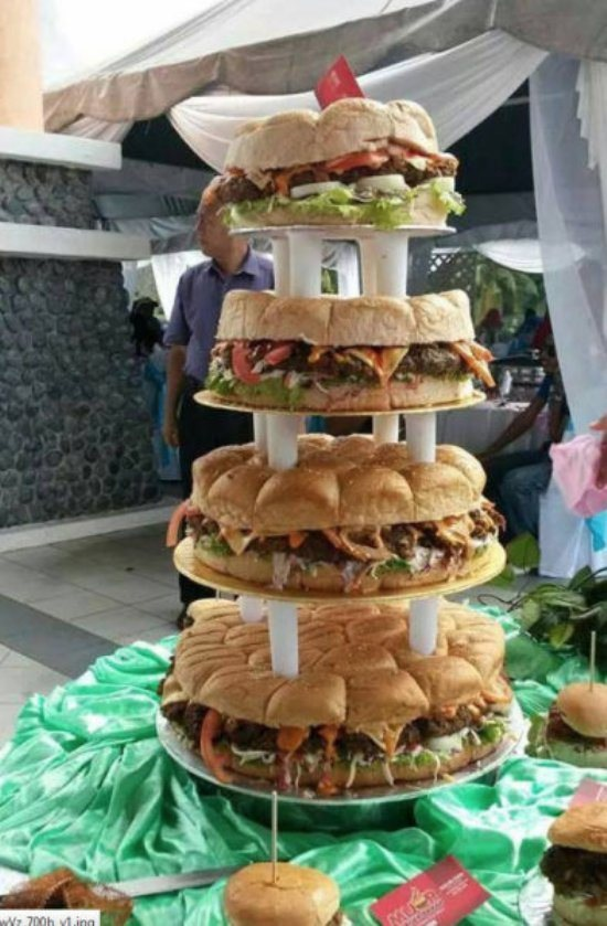 Redneck Wedding Cake  Hamburger Layer Cake Fattening Heart Attack  WTF  Funny  Faxo