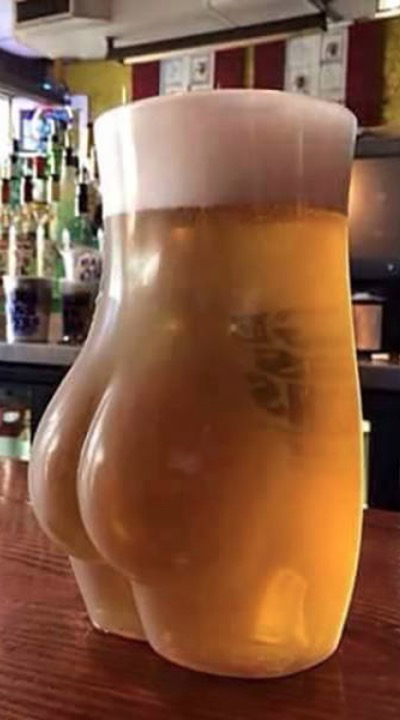 Tall Glass of Beer Butt at a Bar  Funny  Faxo