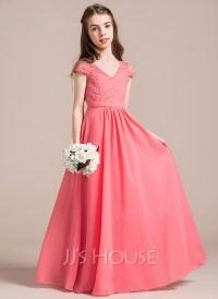 A-Line/Princess V-neck Floor-Length Chiffon Lace Junior ...