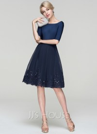 A-Line/Princess Scoop Neck Knee-Length Tulle Cocktail ...