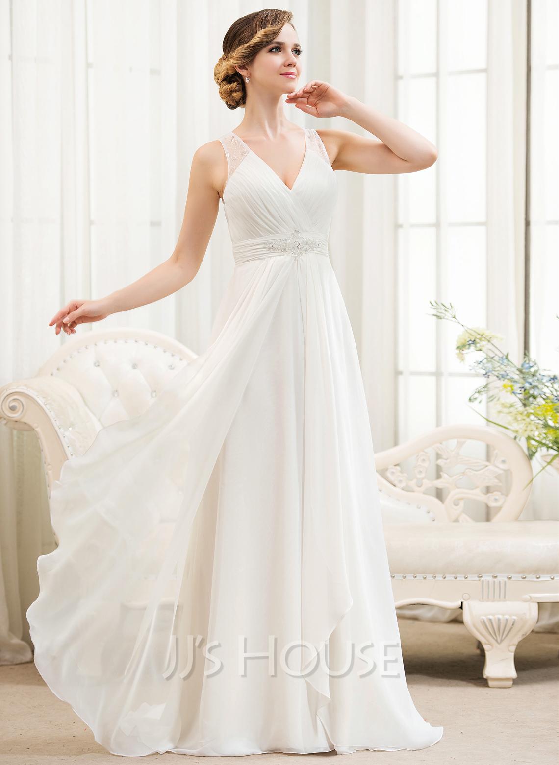 ALinePrincess Vneck Sweep Train Chiffon Wedding Dress