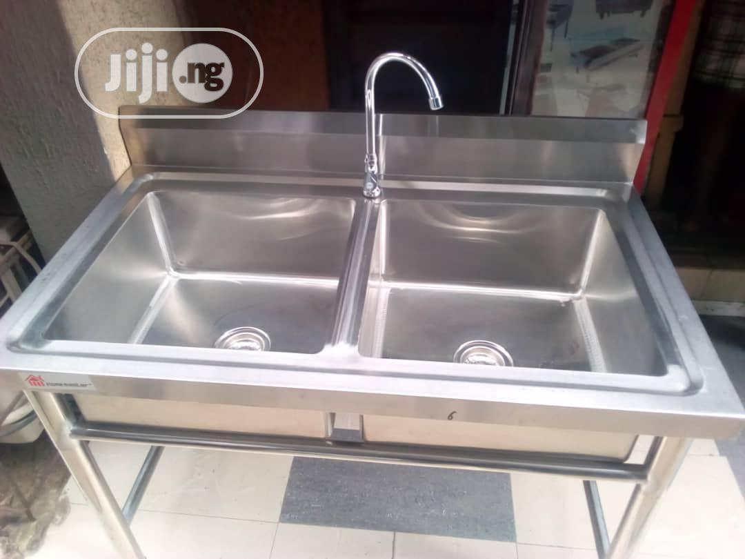 industrial kitchen sink with 2 bowl