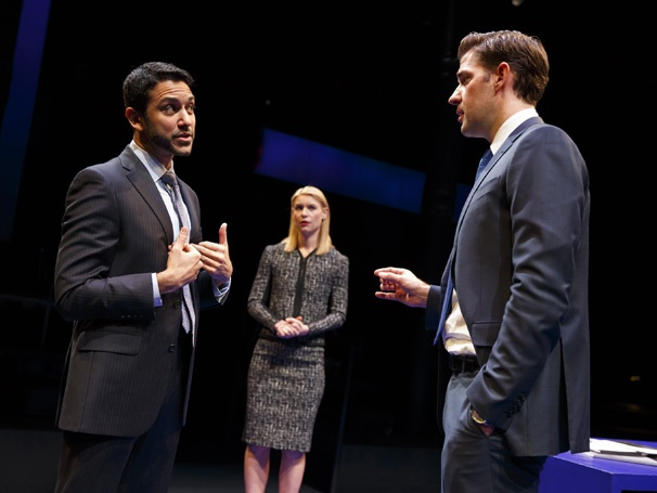 Sanjit De Silva as Jeff Schrader, Claire Danes as Jenny and John Krasinski as Seth in Dry Powder. Photo by Joan Marcus