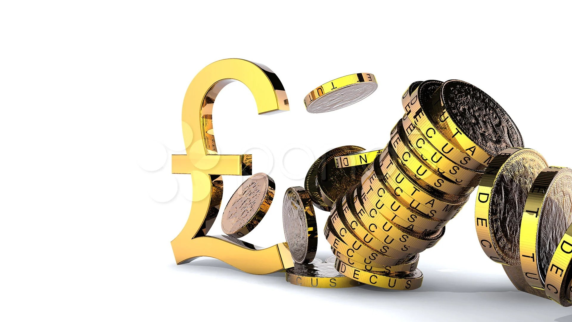 Falling Money 3d Wallpaper Premium Pound Sign Hits Stack Of Pound Coins Hi Res Video 744886