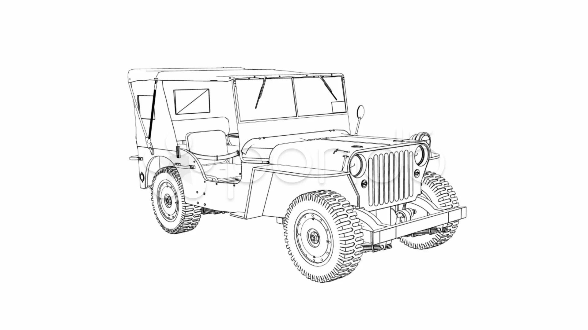 Draw Willys Jeep 1080P ~ HD & 4K Stock Footage #977488