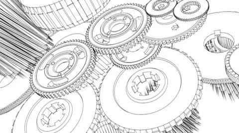 Gears turning (blueprint sketch animation) ~ Video #9888140