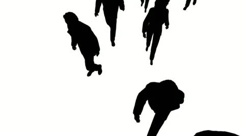 Aerial view of silhouette people walking forward ~ Clip